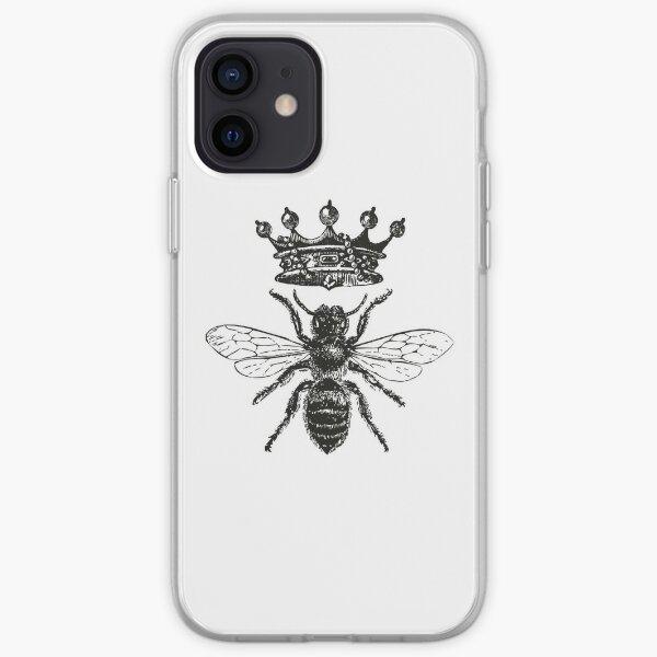 Abeja reina | Abejas de la miel de la vendimia | Blanco y negro | Funda blanda para iPhone