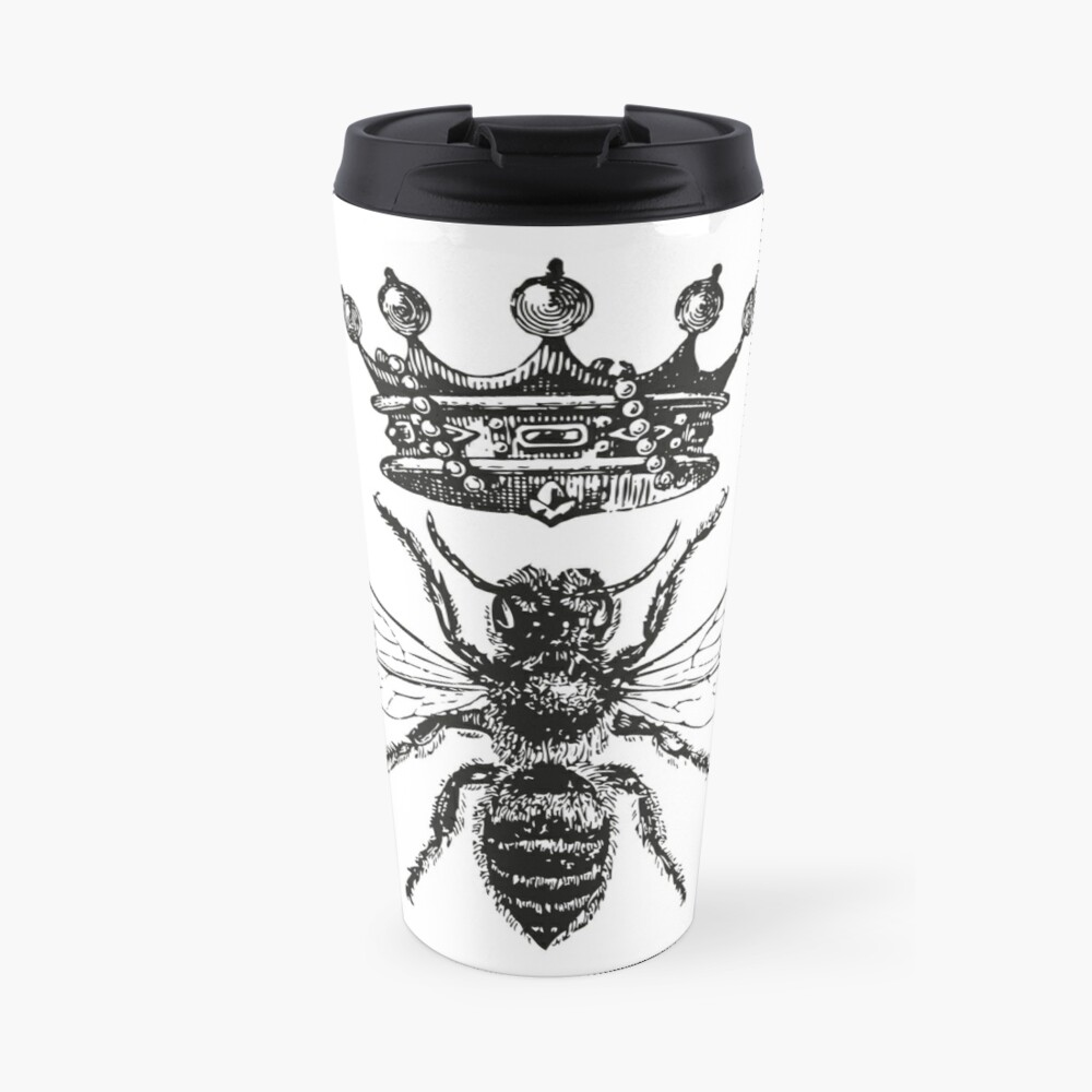 Queen Bee   Vintage Honey Bees   Black and White    Travel Mug