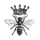 Queen Bee   Vintage Honey Bees   Black and White    by EclecticAtHeART