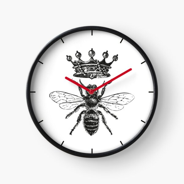 Queen Bee | Vintage Honey Bees | Black and White |  Clock