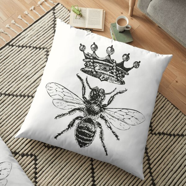 Queen Bee   Vintage Honey Bees   Black and White    Floor Pillow