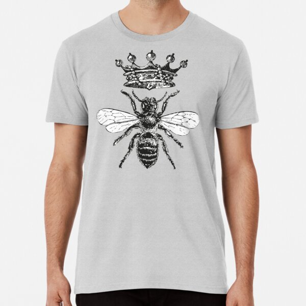 Queen Bee | Vintage Honey Bees | Black and White |  Premium T-Shirt