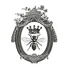 Queen Bee   Vintage Honey Bees   Black, White and Grey     by EclecticAtHeART