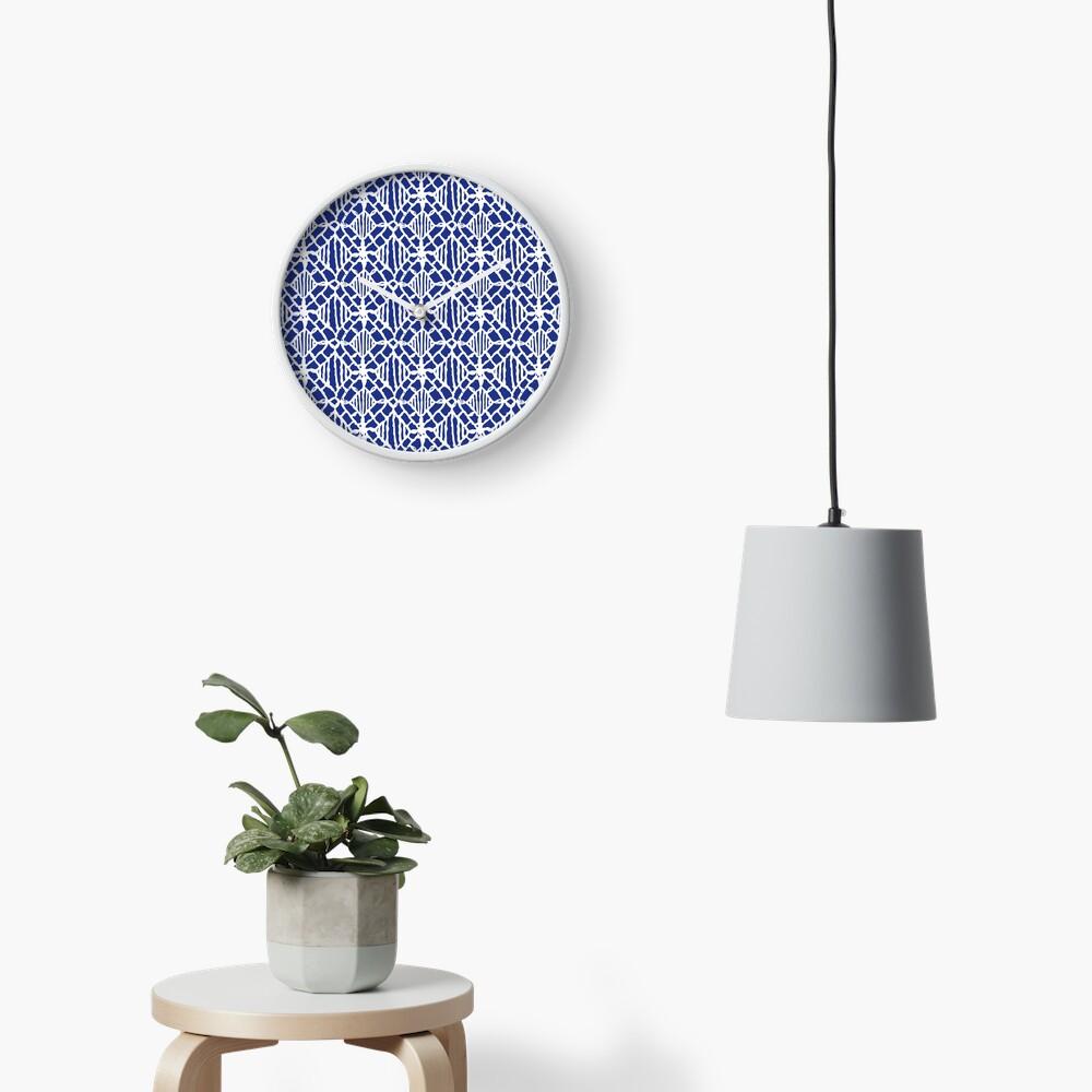White Crocheted Lace Pattern Clock