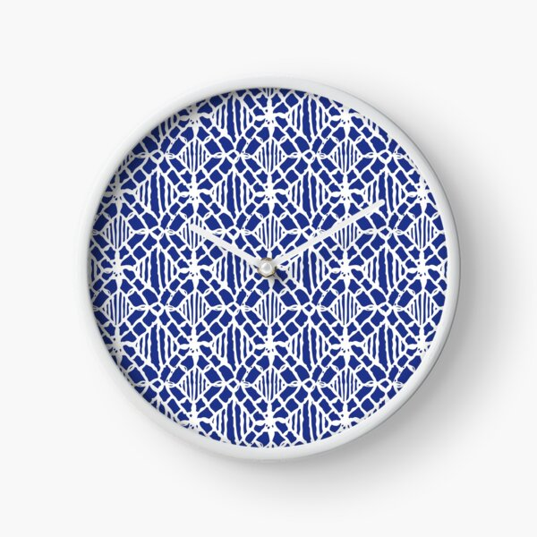 White Crocheted Lace Pattern Clock