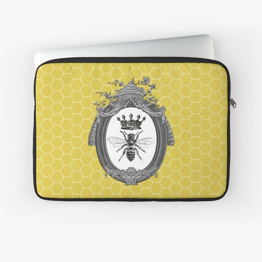 Queen Bee | Vintage Honey Bees | Honeycomb Patterns |  Laptop Sleeve
