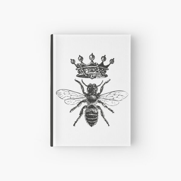 Queen Bee | Vintage Honey Bees | Black and White |  Hardcover Journal