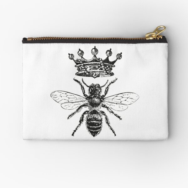 Queen Bee | Vintage Honey Bees | Black and White |  Zipper Pouch