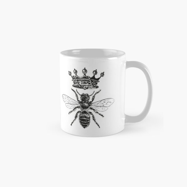 Queen Bee | Vintage Honey Bees | Black and White |  Classic Mug