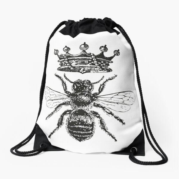 Queen Bee | Vintage Honey Bees | Black and White |  Drawstring Bag