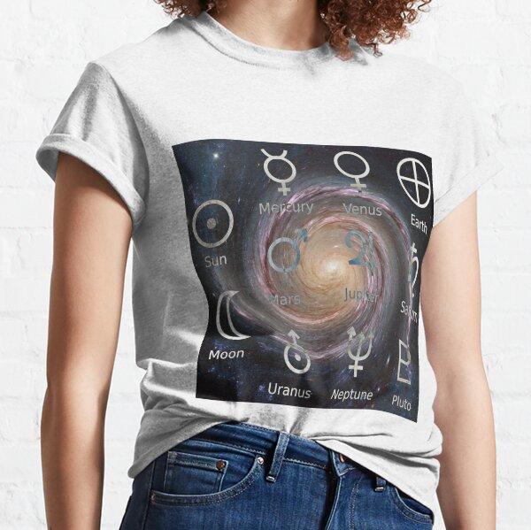 Astronomical Symbols: #Sun, #Mercury, #Venus, #Earth, Mars, Jupiter, Saturn, Uranus, Neptune, Pluto Classic T-Shirt