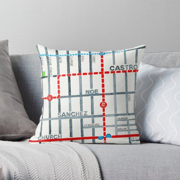 San Francisco map - Noe Valley Throw Pillow