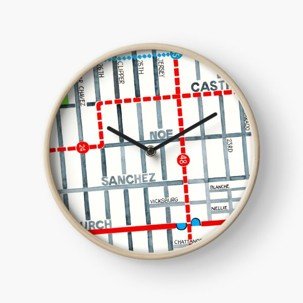 San Francisco map - Noe Valley Clock