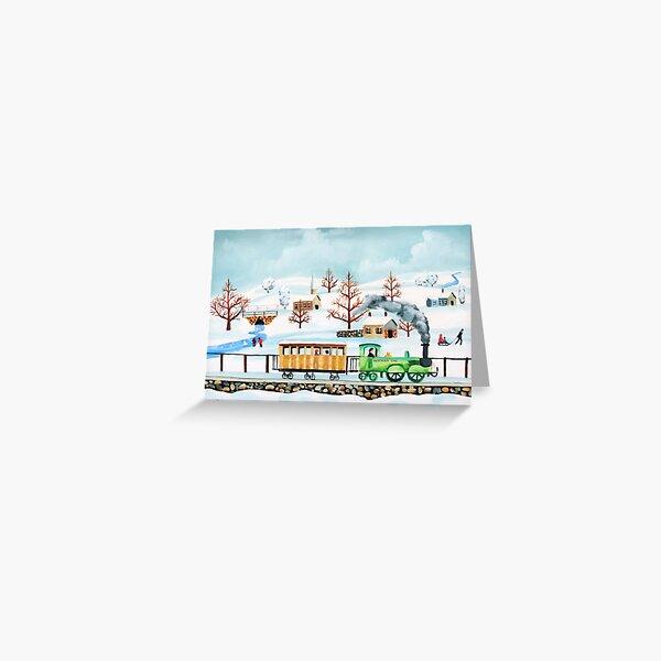 Choo-choo train winter folk art Greeting Card