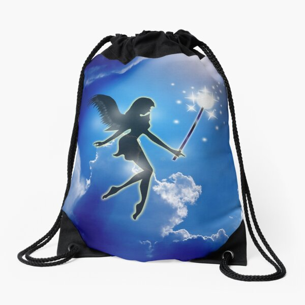 Fairy In the Sky - Flowers and Fairies Evening -15 Drawstring Bag