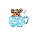 Cute Puppy Dog in a Teacup | Animal Lover by beachlifestudio