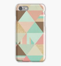 Peach, Mint and Gold Triangles iPhone Case/Skin