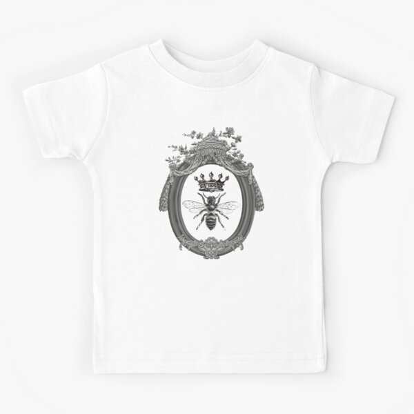 Queen Bee Pattern | Vintage Honey Bees | Black, White and Grey |  Kids T-Shirt