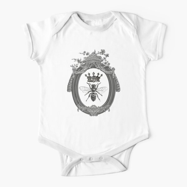 Queen Bee Pattern | Vintage Honey Bees | Black, White and Grey |  Short Sleeve Baby One-Piece