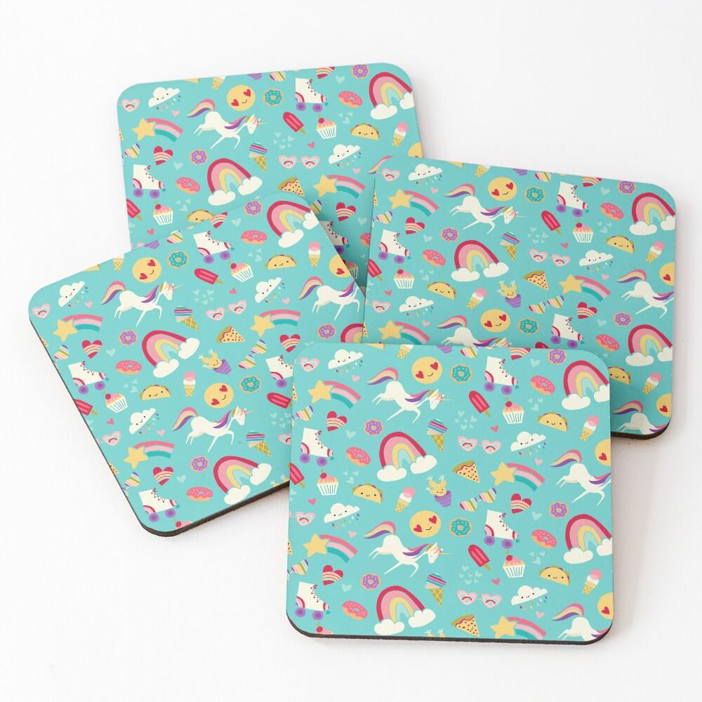 Tween Girl Icons Rainbows Emojis Unicorns Roller Skates Coasters (Set of 4)
