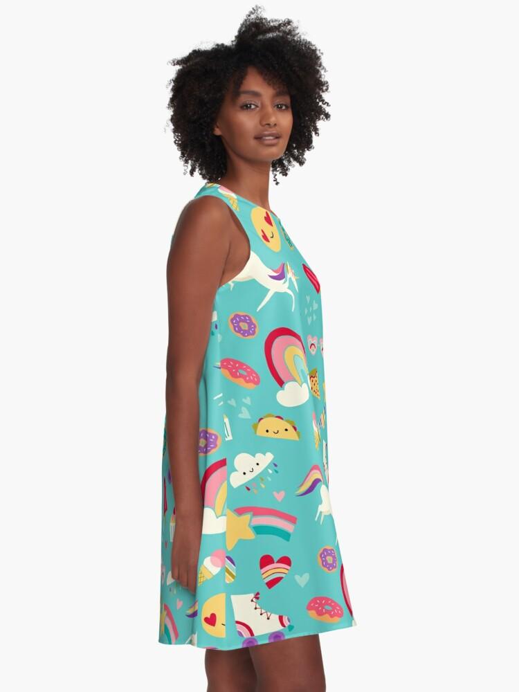 Alternate view of Tween Girl Icons Rainbows Emojis Unicorns Roller Skates A-Line Dress