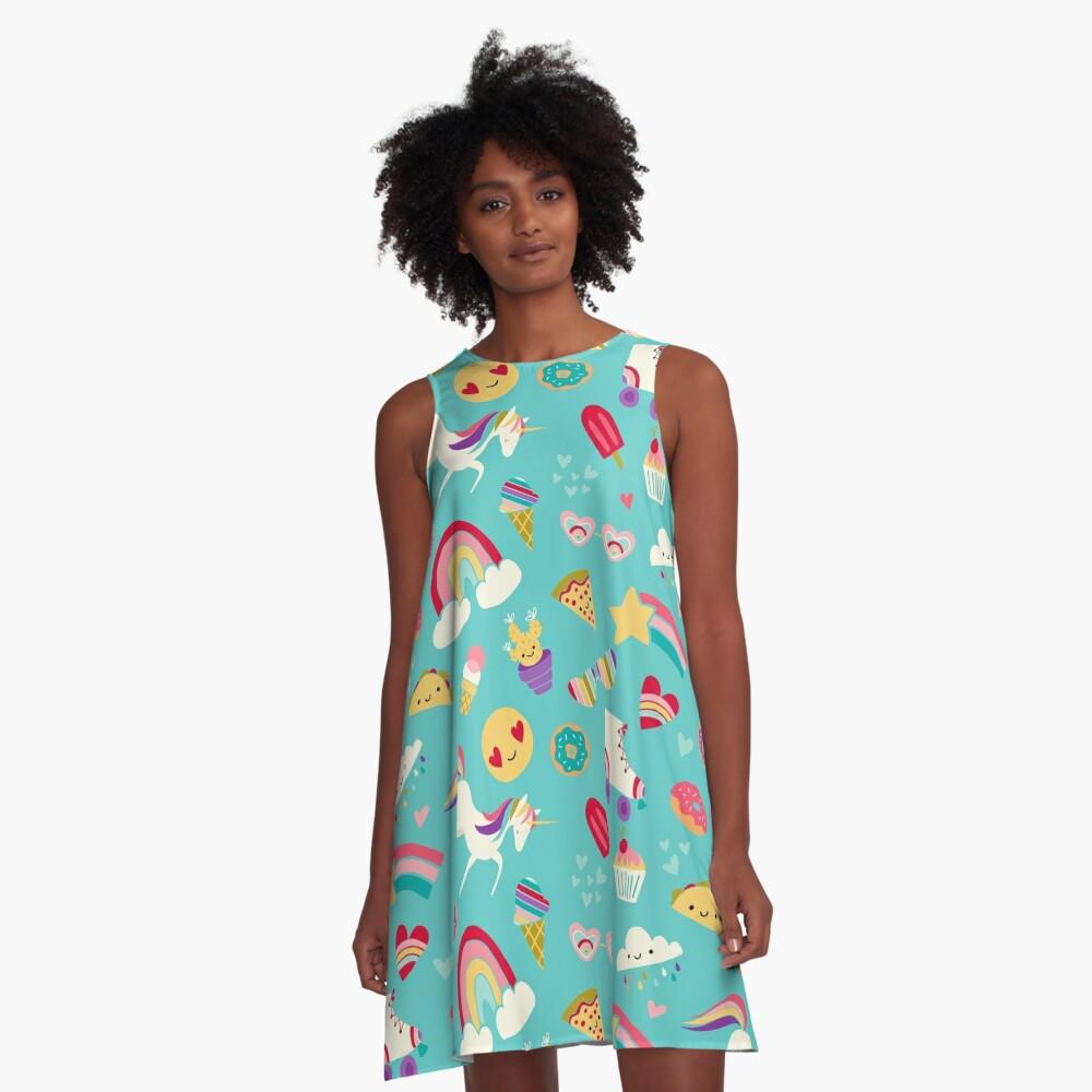 Tween Girl Icons Rainbows Emojis Unicorns Roller Skates A-Line Dress