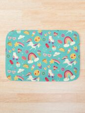 Tween Girl Icons Rainbows Emojis Unicorns Roller Skates Bath Mat