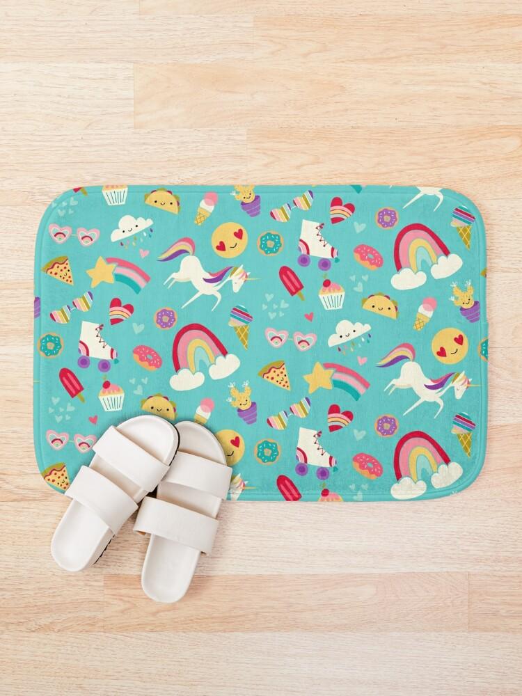 Alternate view of Tween Girl Icons Rainbows Emojis Unicorns Roller Skates Bath Mat