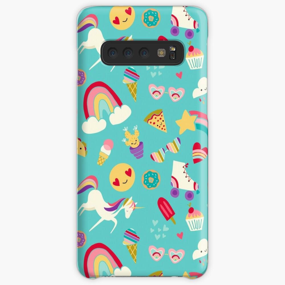 Tween Girl Icons Rainbows Emojis Unicorns Roller Skates Case & Skin for Samsung Galaxy