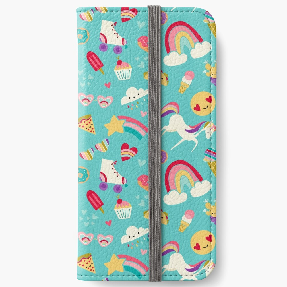 Tween Girl Icons Rainbows Emojis Unicorns Roller Skates iPhone Wallet