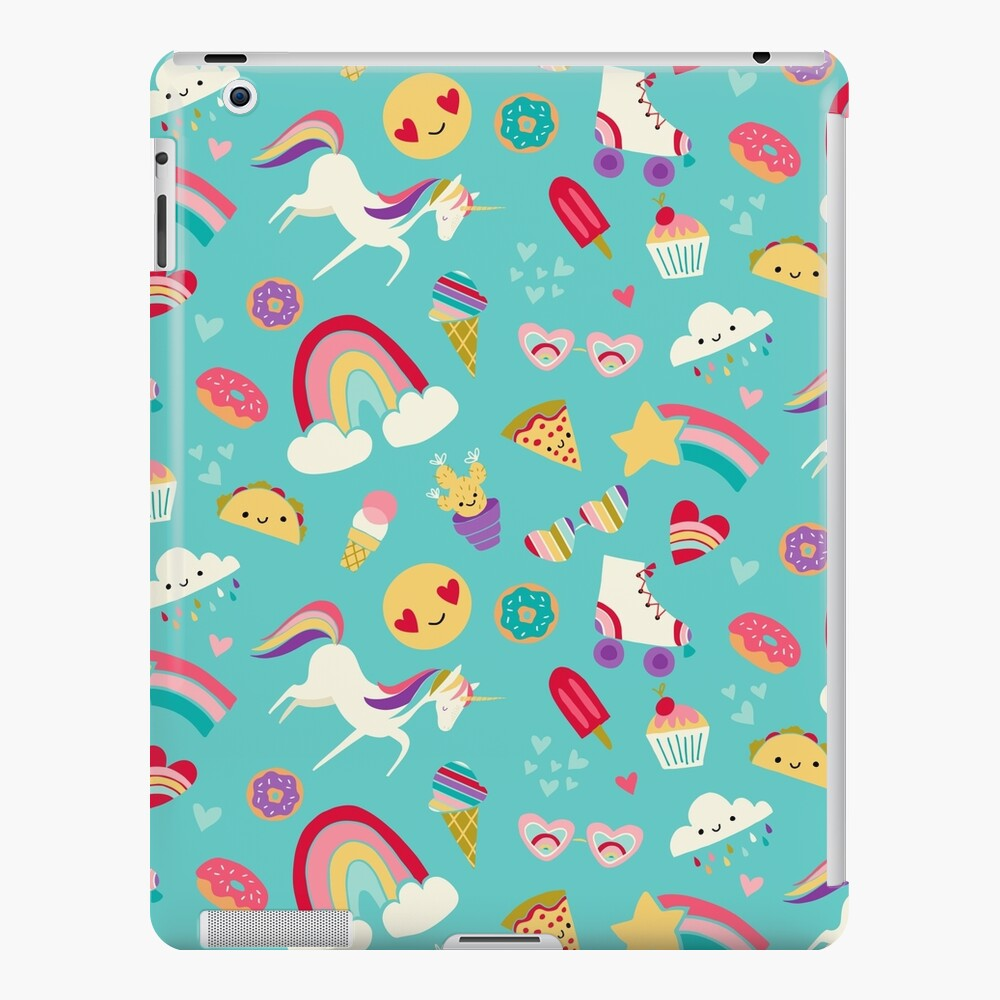 Tween Girl Icons Rainbows Emojis Unicorns Roller Skates iPad Case & Skin