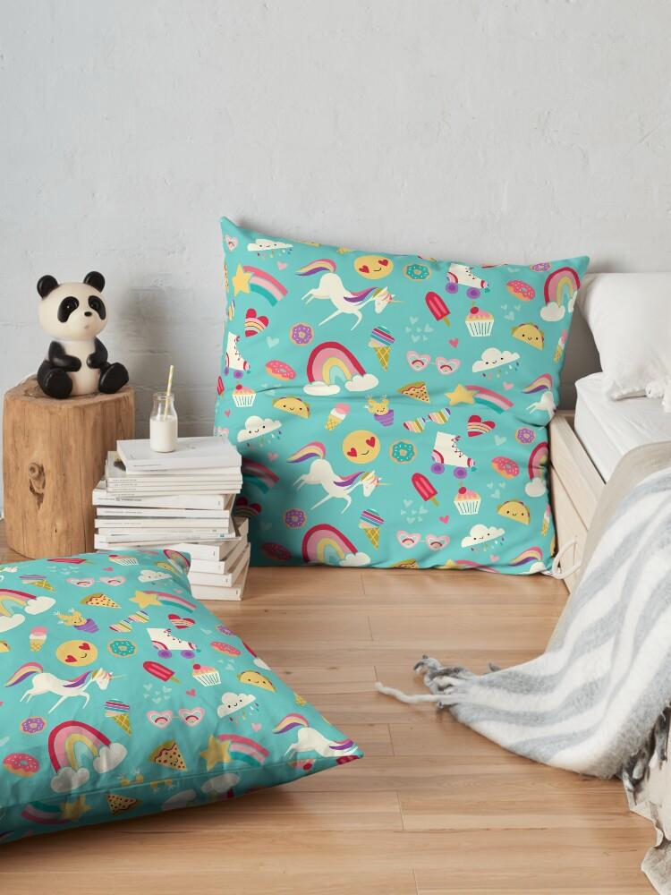 Alternate view of Tween Girl Icons Rainbows Emojis Unicorns Roller Skates Floor Pillow
