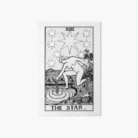 XVII. The Star Tarot Card   Black and White Art Board Print