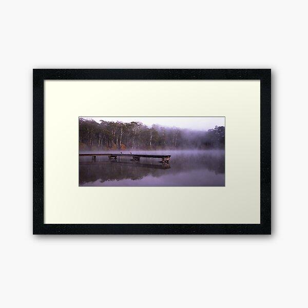 Fog on Lake Daylesford Framed Art Print