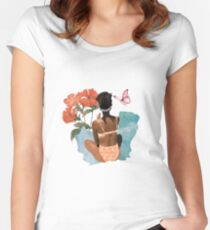 Fashion Collage Buterfly Design Fitted Scoop T-Shirt