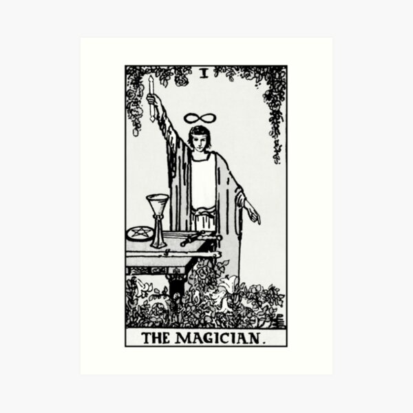 I. The Magician Tarot Card | Black and white Art Print