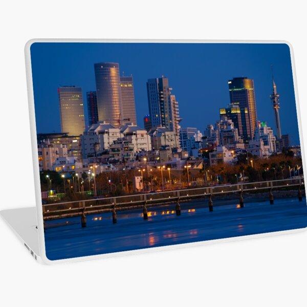 city lights and twilight hour at Tel Aviv Laptop Skin