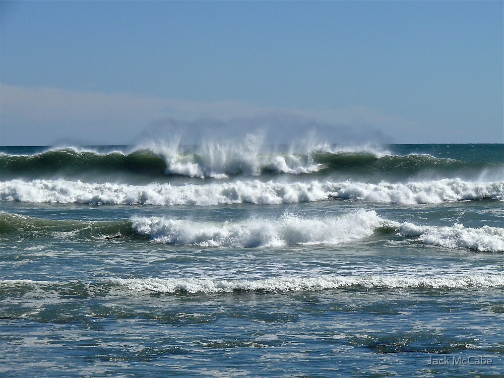 Waves from the Atlantic - Wind from the North - Point Judith - Rhode Island by Jack McCabe