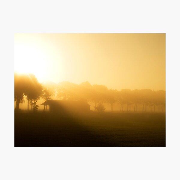 Misty Barn Photographic Print