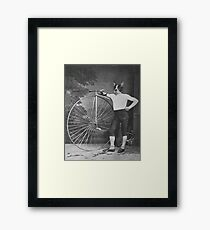 Boston Terrier with Bike Framed Print