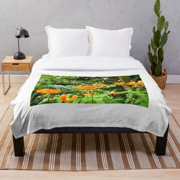 Carolina lily upside down flower Throw Blanket