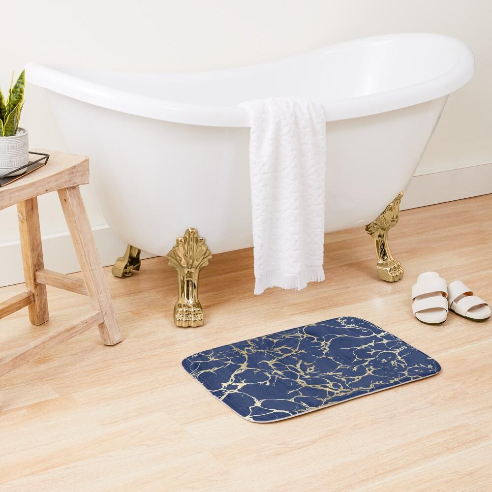 Chic navy blue faux gold foil marble pattern  Bath Mat