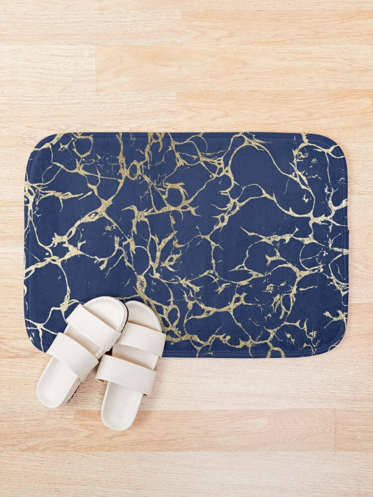 Alternate view of Chic navy blue faux gold foil marble pattern  Bath Mat