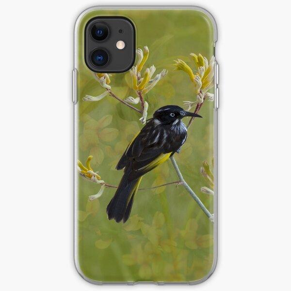 Native Bird Honey-eater on Yellow Kangaroo Paw Australia iPhone Soft Case