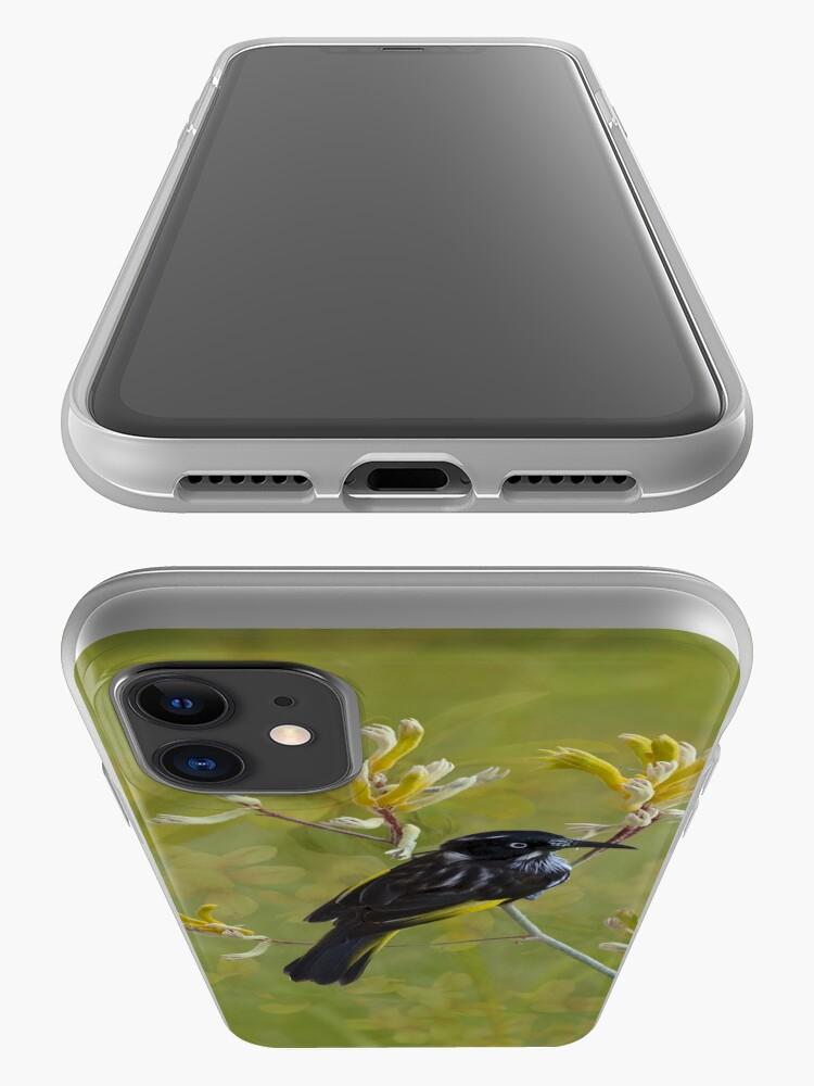 Alternate view of Native Bird Honey-eater on Yellow Kangaroo Paw Australia iPhone Case & Cover