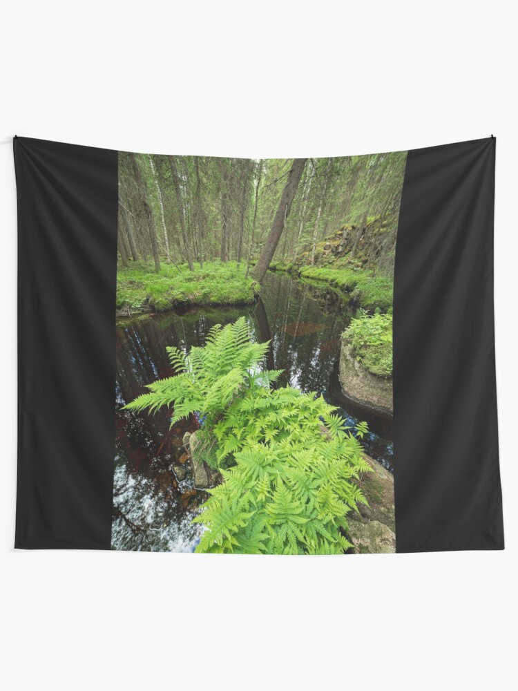 Alternate view of Fern in the forest creek landscape Tapestry