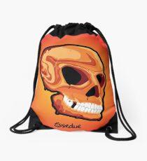 Orange Skull Drawstring Bag