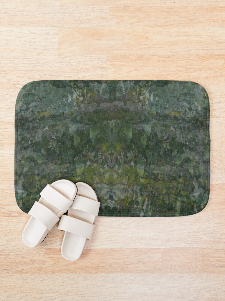 Alternate view of Forest and Rock Montage fabric design Bath Mat