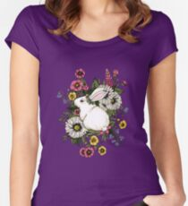 Rabbit in Flowers Women's Fitted Scoop T-Shirt