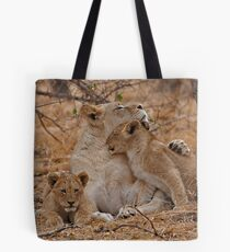 Lioness With Her Cubs Tote Bag